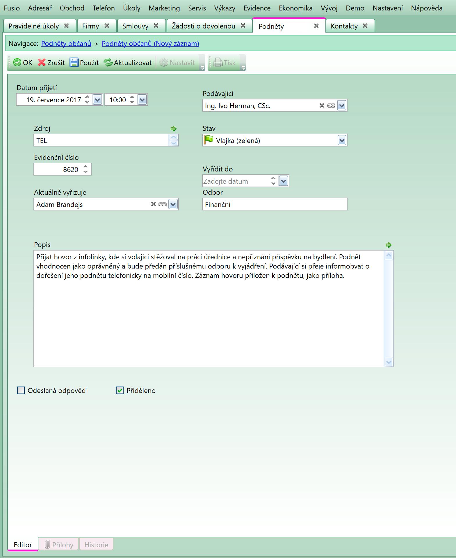 Ukázka kontaktního formuláře