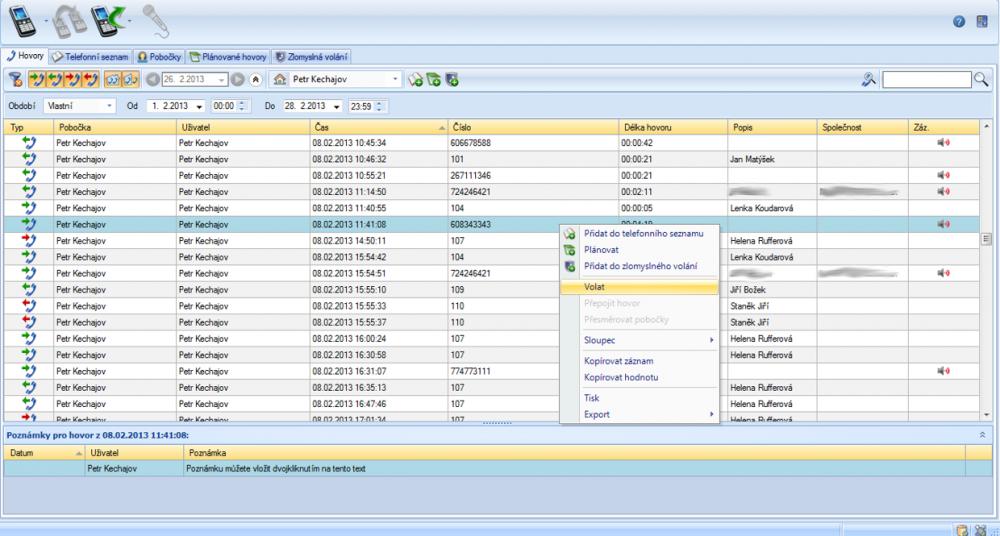 Software pro obsluhu telefonního provozu z PC